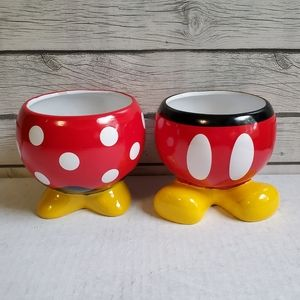 Mickey Mouse & Minnie Mouse Ceramic Planters